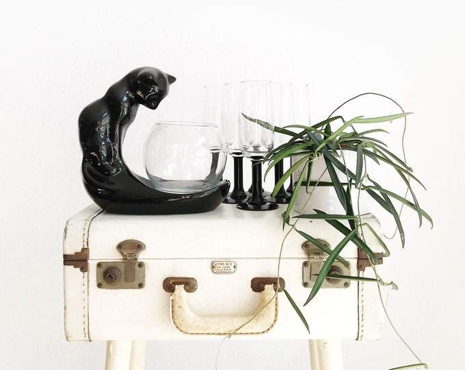 haeger style black ceramic cat glass fish bowl figurine sculpture | kitty statue