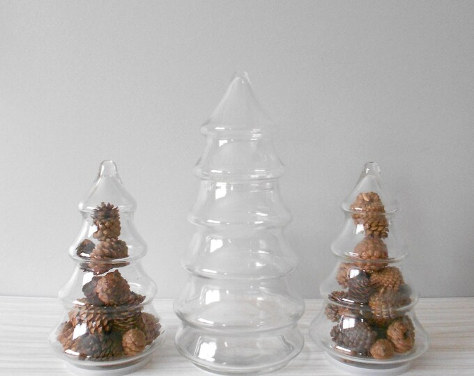 set of 2 matching glass christmas tree storage jar with lid / terrarium container