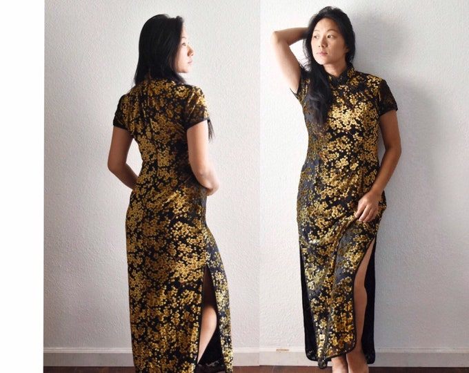1950s summer evening long black asian Chinese dress   short sleeve floral gown