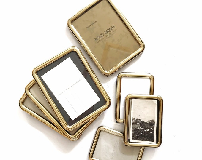 vintage small solid brass rectangular picture frame / standing easel / 1 single small frame