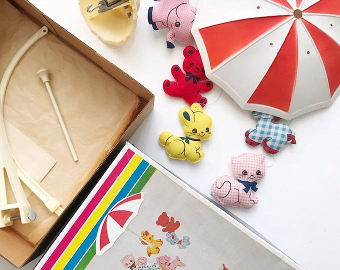 vintage musical dolly toy zoo animal animal shower baby nursery mobile   animal figurines
