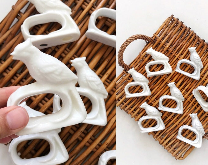 vintage white porcelain ceramic bird napkin ring holders / kitchen housewarming gift / quail figurine