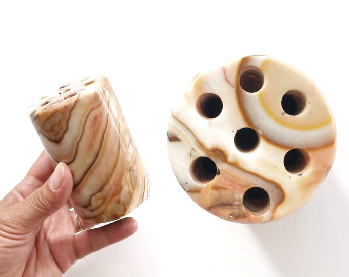 office carved onyx marble stone pencil holder noteholder   pencil storage   paperweight