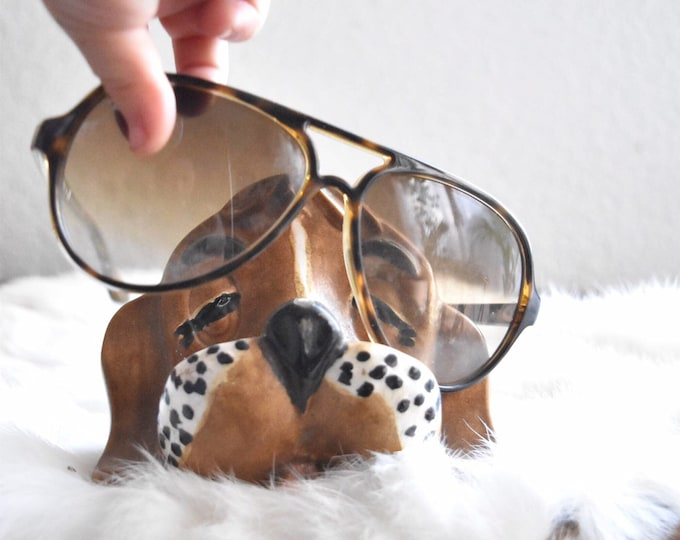 mid century brown hand painted ceramic dog eye glass holder organizer