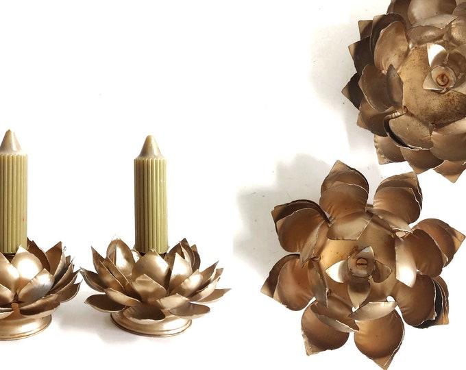 vintage gold metal tulip flower candleholder set | Christmas candlestick holders