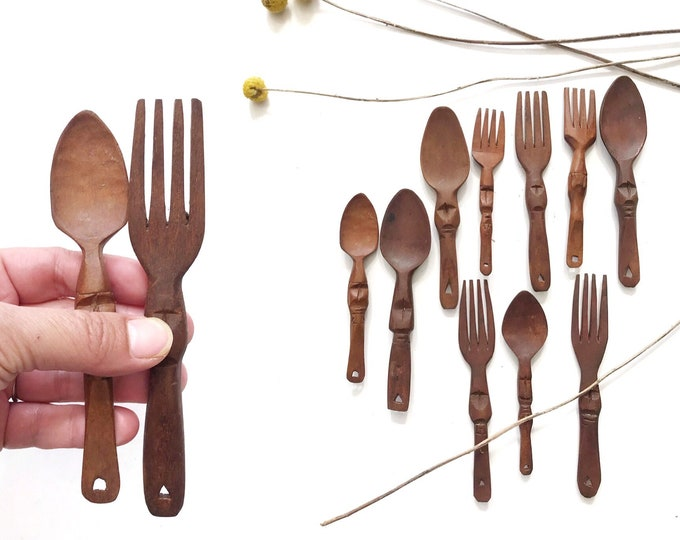 set of carved wooden spoon and forks | decorative wood ornaments