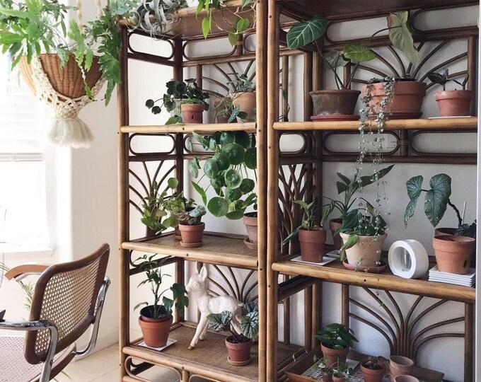 gorgeous pair of bamboo shelving unit   ornate boho tiered shelf set