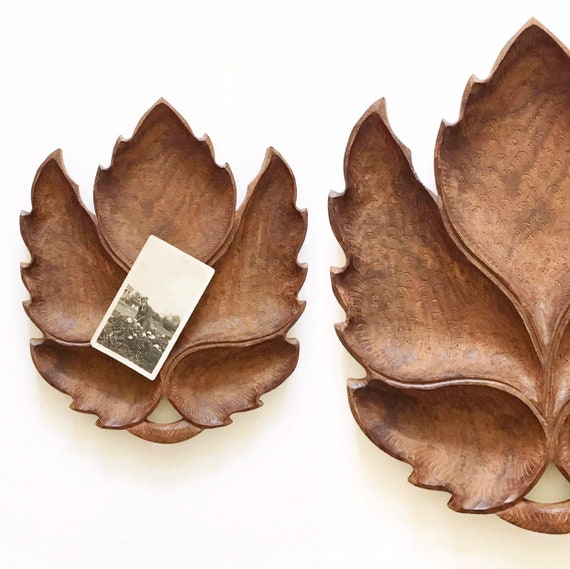 large hand carved solid wood leaf tray | business card holder | catch all bowl