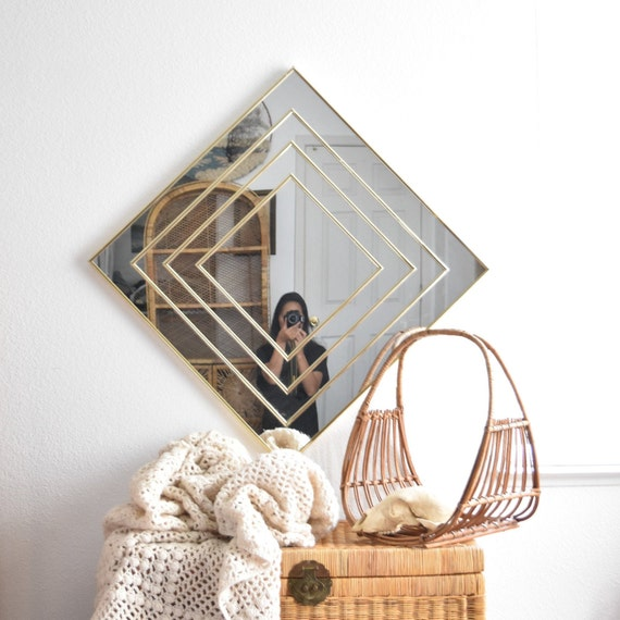 large wall hanging mid century modern gold framed diamond shaped glass mirror | geometric square