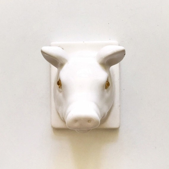 white ceramic pig head wall mount / piglet figurine / baby nursery decor