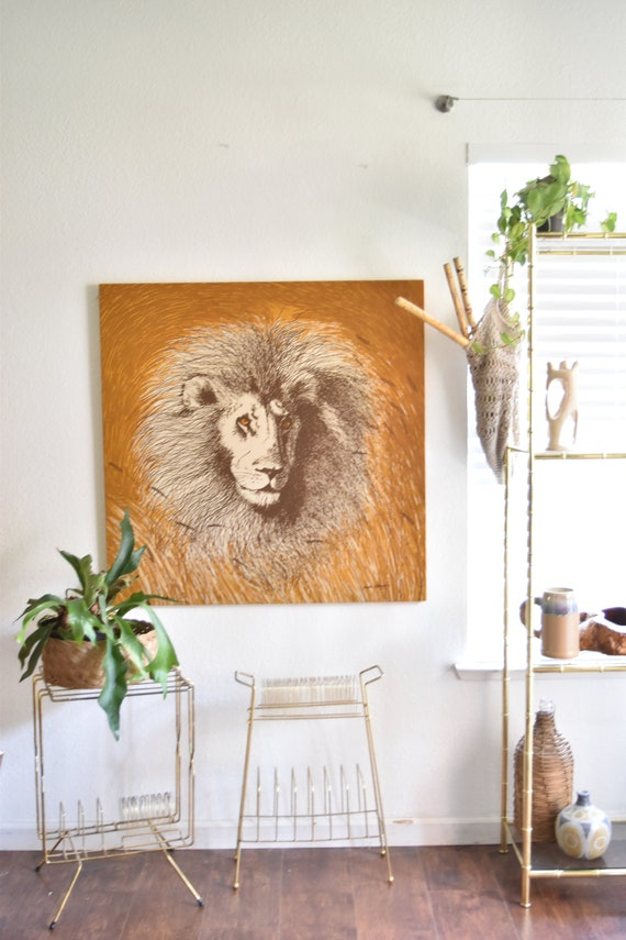 large gloria eriksen lion print | baby boy animal jungle nursery bedroom wall art painting