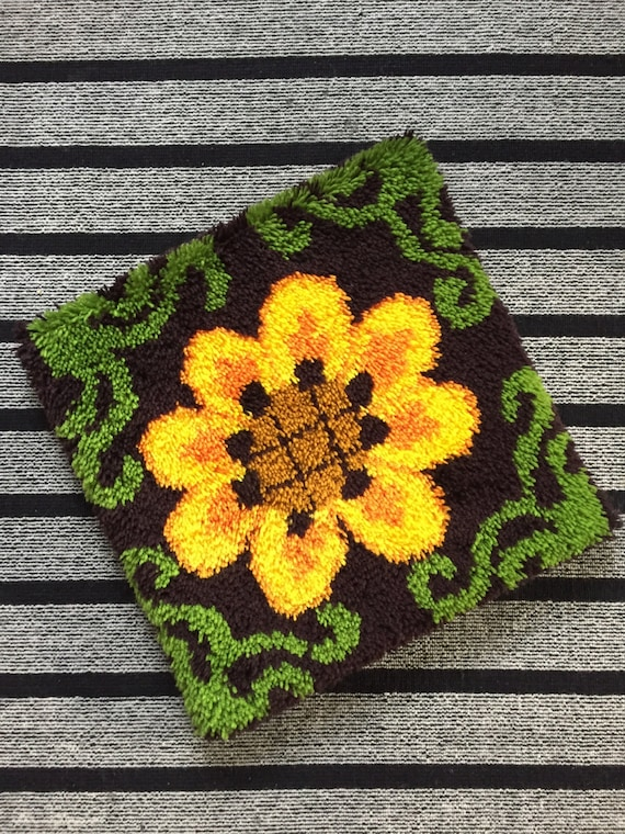large yellow vintage shag floor pillow / pillowcase cover / flower floral