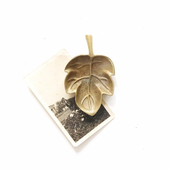 small brass leaf trinket plate dish / business card holder