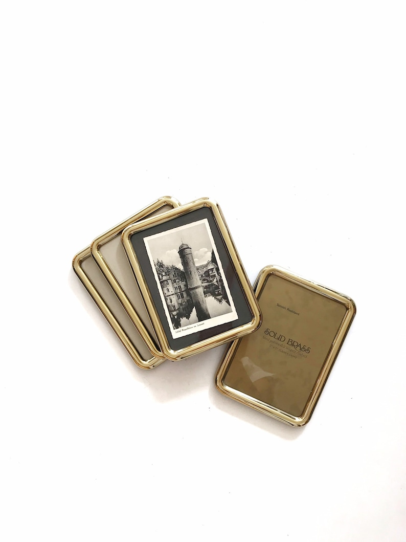 vintage 5 x 7 solid brass rectangular picture frame / standing image 0