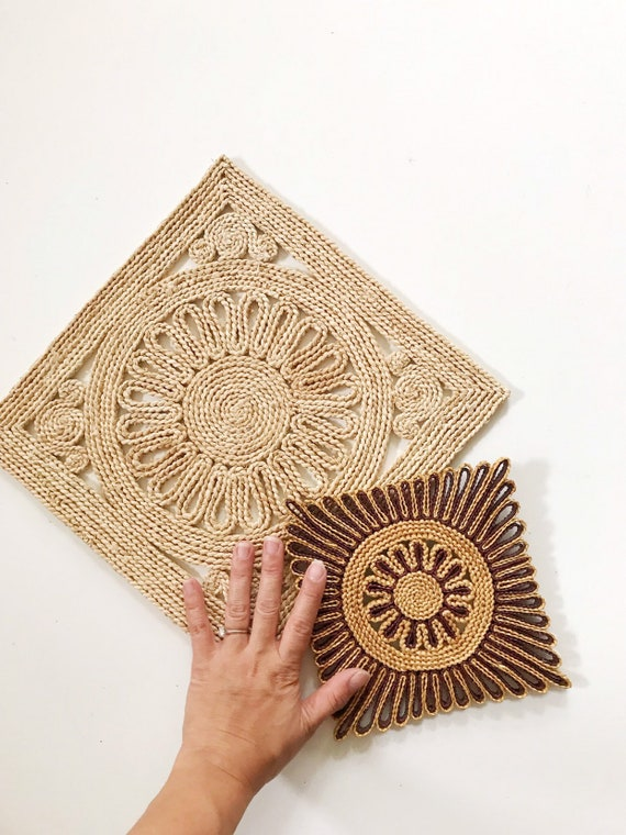 Reserved | small square flower woven straw trivets / wall hanging baskets