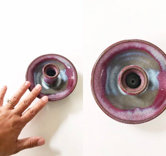 beautiful purple blue hand thrown stoneware glazed candleholder / candlestick holder