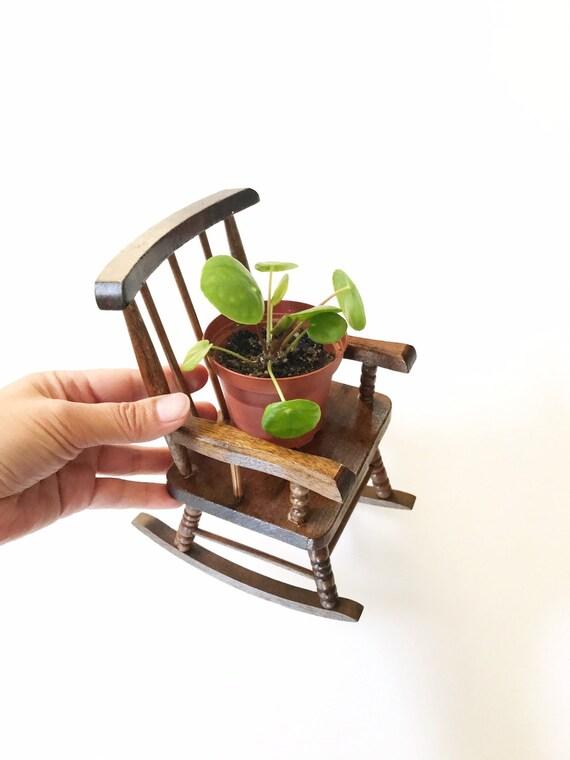 vintage miniature doll wood rocking chair | baby bedroom nursery decor