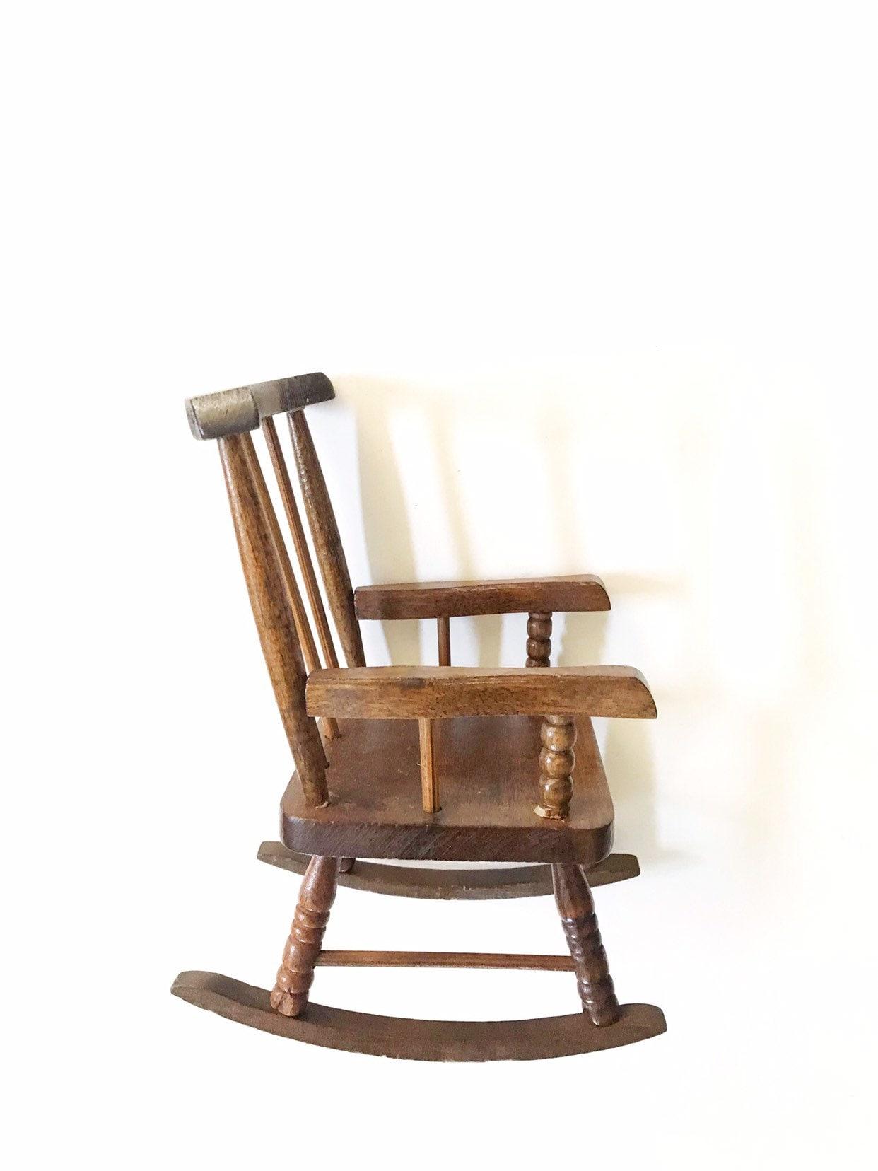 Vintage Miniature Doll Wood Rocking Chair Baby Bedroom