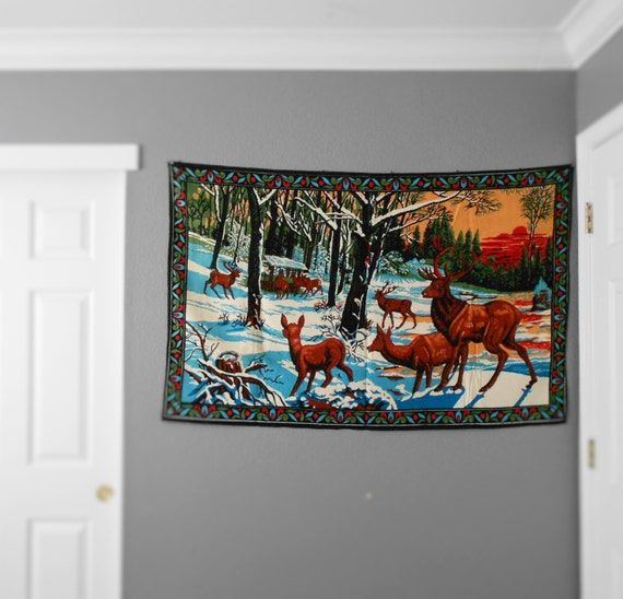 large vintage turkish deer wall hanging tapestry / wall hanging art / textile / buck hunting / mural