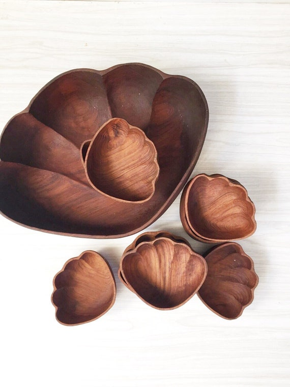 extra large monkeypod hawaiian wood bowls // set of 9
