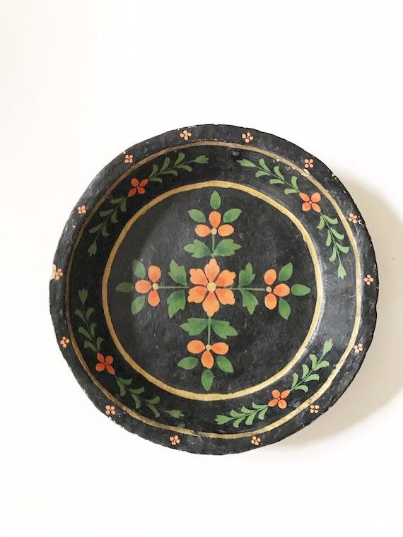 "large 15"" hand painted batea mexican wood bowls / folk art wall hanging"