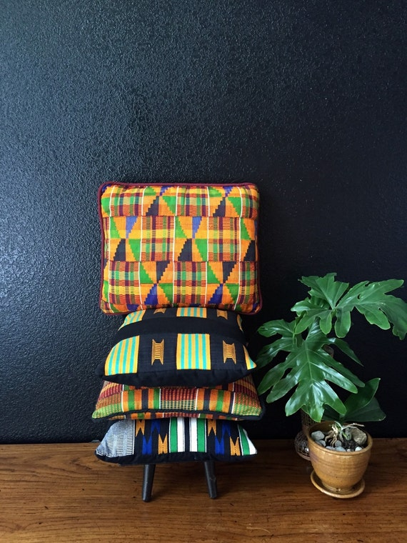 orange decorative yellow tribal african kente throw pillows / kilim / removable cover