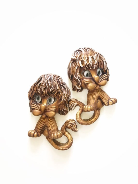 pair of gold lion wall hanging plaque / safari jungle baby boy bedroom decor / nursery