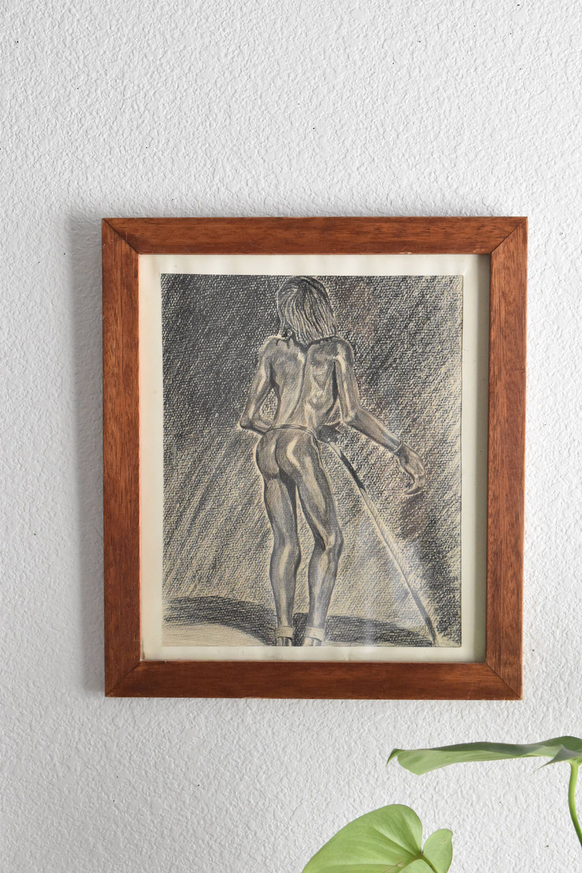 Vintage original art charcoal pencil drawing black white nude african australian aboriginal man
