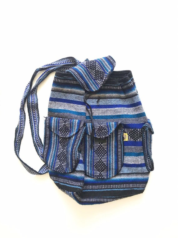 vintage blue striped hippie boho backpack school bag / mexican / pinzon / colorful
