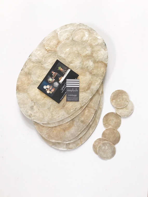 set of oval shaped capiz shell serving table placemat trays | housewarmings gift