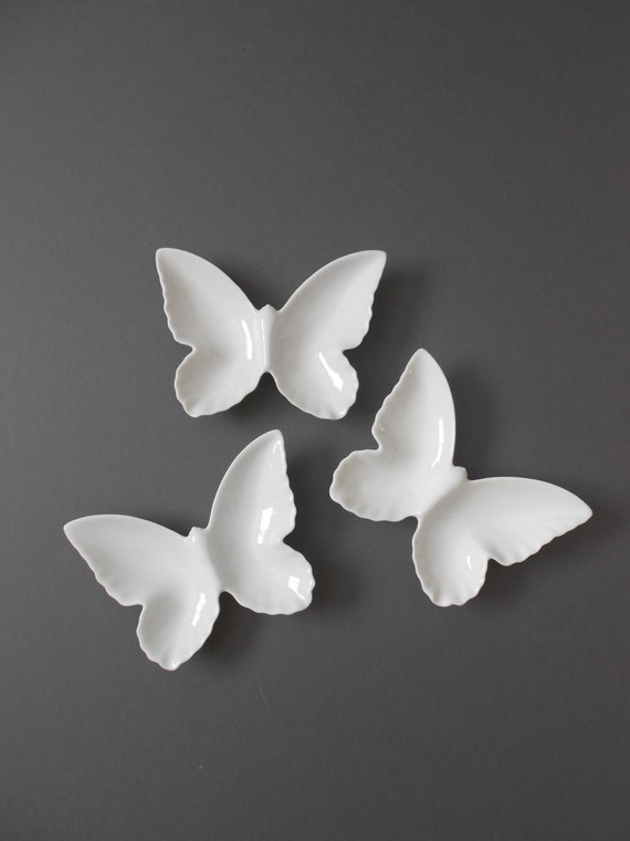 vintage a trio of white ceramic butterfly dishes / trinket plates
