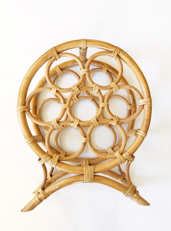 vintage round bamboo rattan wicker wine bottle rack / retro wooden wine holder rack