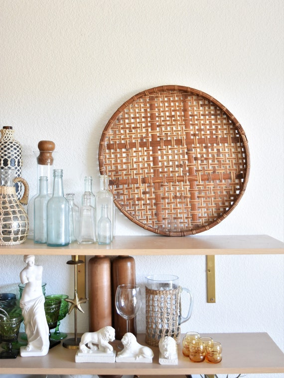 flat round shallow bamboo rattan basket / wall hanging