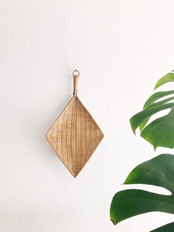 wall hanging geometric diamond wicker basket ladle | boho home decor