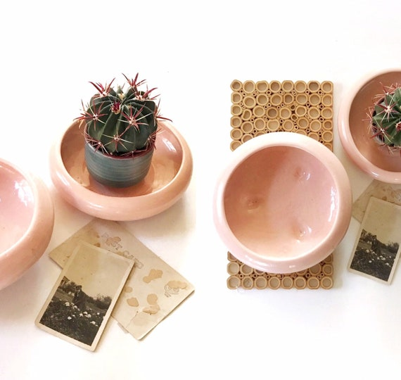 vintage shallow pink ceramic planter flower pot | single vase