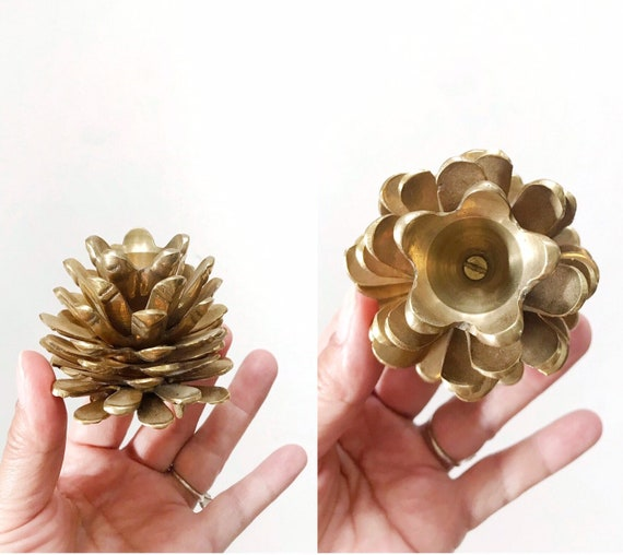christmas solid brass pine cone candleholder / taper candlestick holder