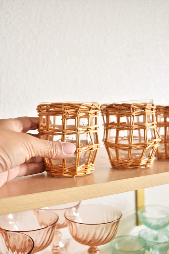 set of 3 woven wicker glass flower vase candleholder | glass pot planters