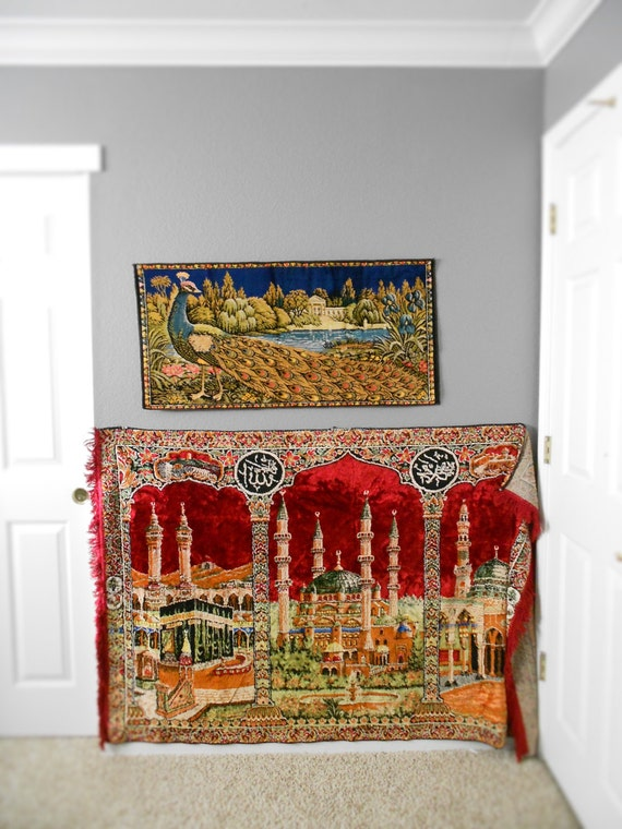 vintage turkish velvet wall hanging carpet tapestry / mosque / temple / kilim