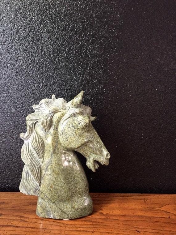 large vintage carved solid marble horse head sculpture bust