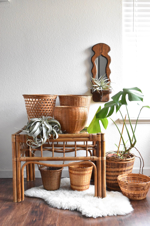mid century boho woven rattan bamboo glass coffee table ...