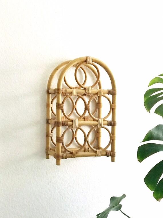 vintage standing bamboo rattan wicker wine bottle rack / retro wooden wine holder rack