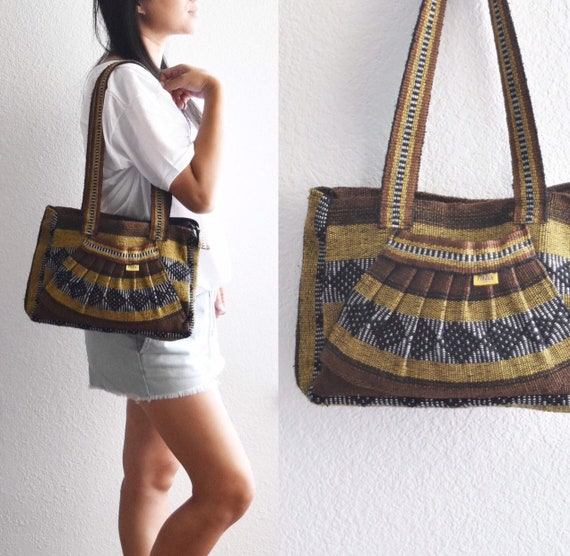 vintage yellow mustard brown striped shoulder hippie boho bag / boho / mexican / pinzon / over the shoulder