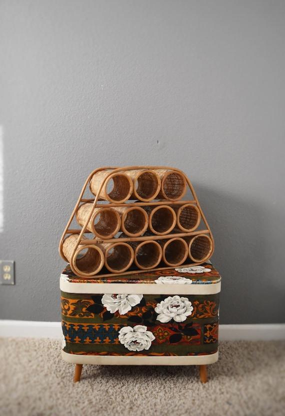 vintage mid century bamboo rattan wicker wine bottle rack / shelf / boho
