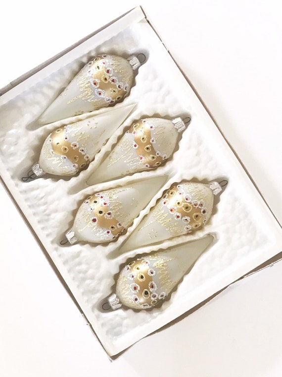 vintage sparkling gold glass christmas teardrop ornaments / set of 6 / tree ball ornaments