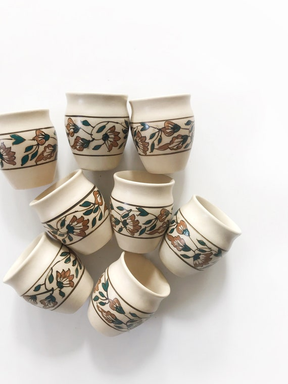 mexican hand painted floral clay water tumblers | drinking cup set