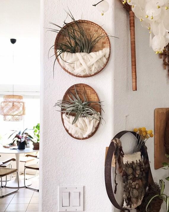 handmade oval woven wall hanging fiber art air plant hanger / plant holder