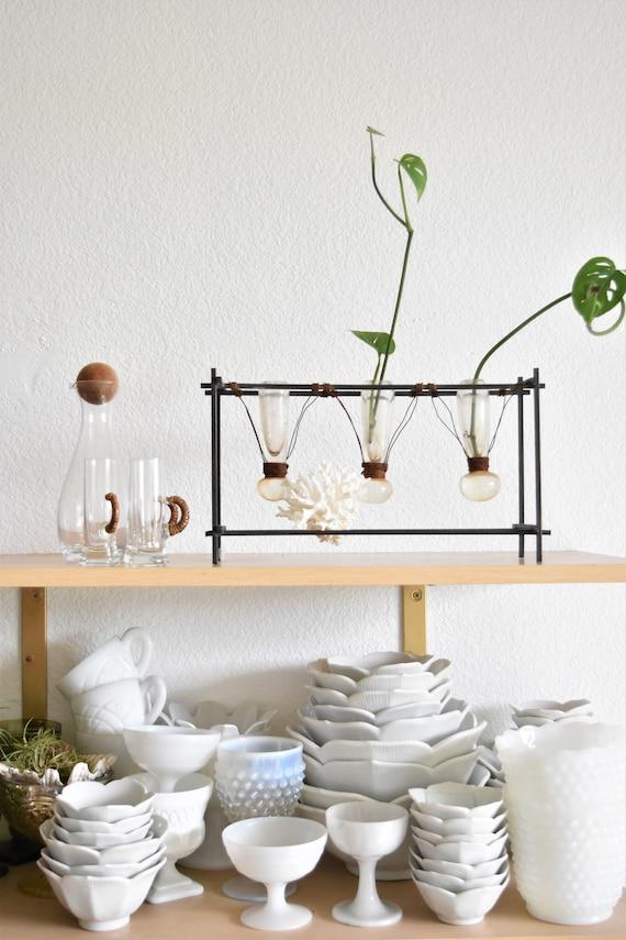 vintage metal glass propagating bud vase / flower plant holder