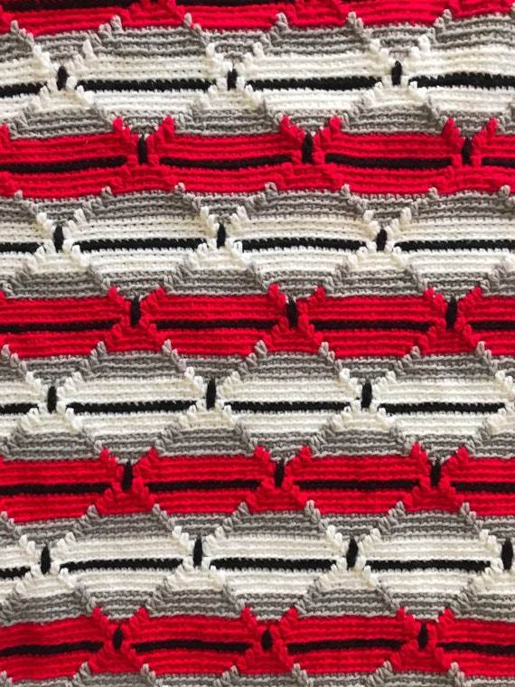 vintage red gray / chevron afghan throw blanket / twin size / striped