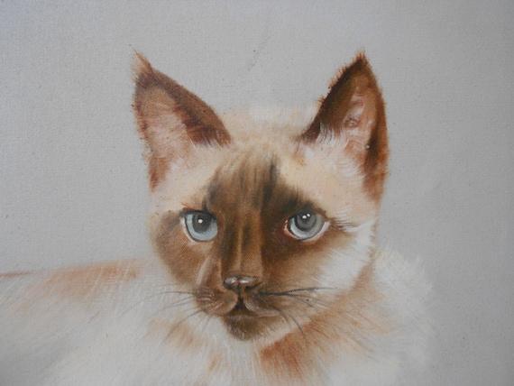 original vintage large siamese cat painting / cat lover portrait / white cat