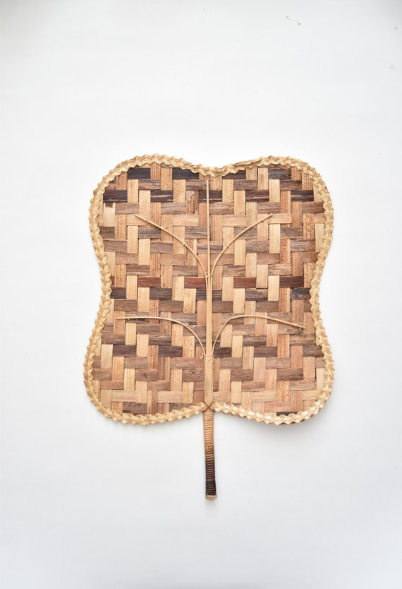 large 1970s brown delicate woven rattan fan / wall basket